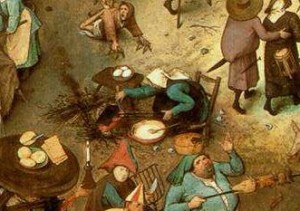 """La """"Lotta tra Carnevale e Quaresima"""" di Bruegel: particolare"""