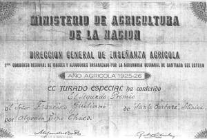 Premio nacional por la produccion de algodon, establecimiento de Félice Giuliano