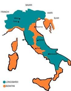 Domini longobardi in Italia all'inizio del VII secolo