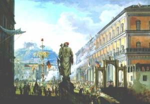 L'abbattimento dell'Albero della Libertà repubblicano a Largo di Palazzo a Napoli