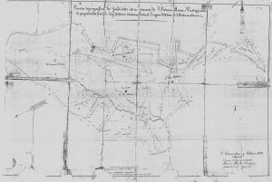 Pianta della divisione del feudo di Vicennepiane tra i fratelli d'Alena nel 1872