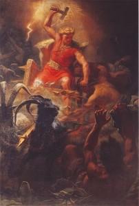 Thor raffigurato sul suo carro mentre brandisce il martello Mjöllnir (dipinto di Mårten Eskil Winge, 1872)