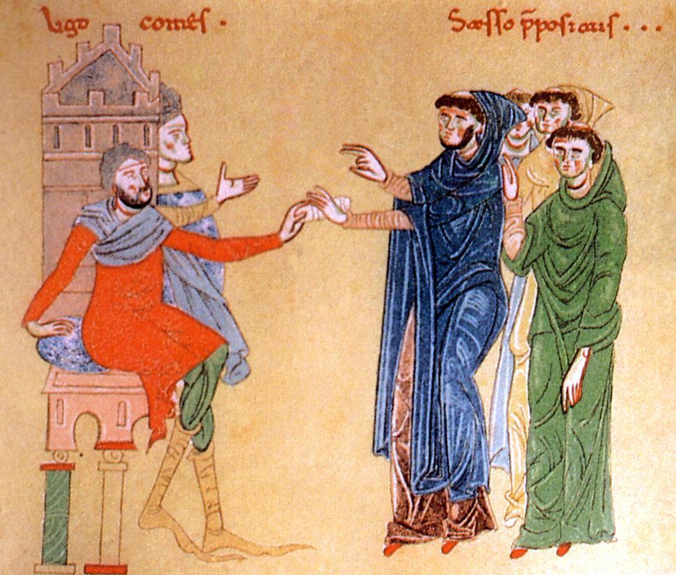 Ugo I de Moulins, conte di Bojano, fa una donazione all'abate Saxo