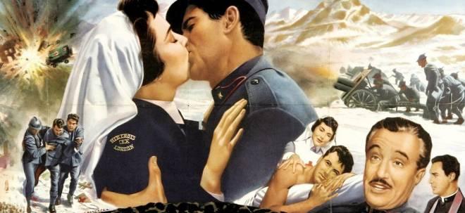 """Locandina del film """"Addio alle armi"""" tratto dal romanzo di Ernest Hemingway"""