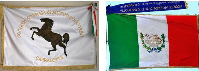 La bandiera della Società Operaia fondata nel 1881 e quella delle Società Pastori fondata nel 1874 e Artigiana fondata nel 1877