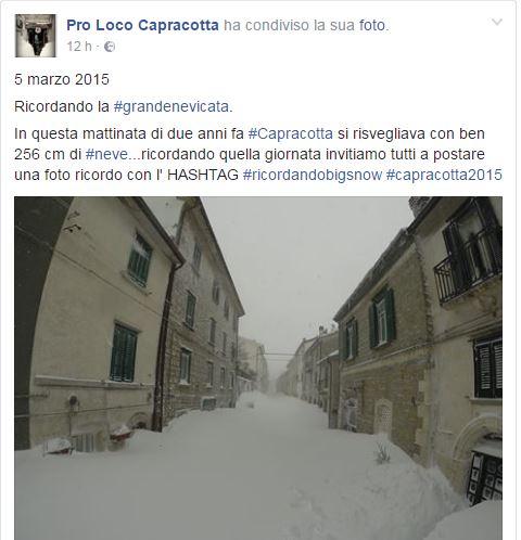 Il post della Pro Loco sulla grande nevicata del 2015