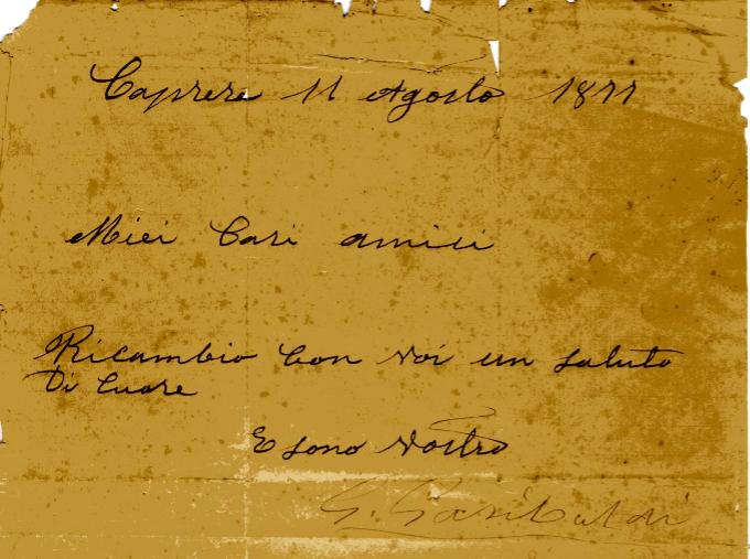 La lettera di Giuseppe Garibaldi