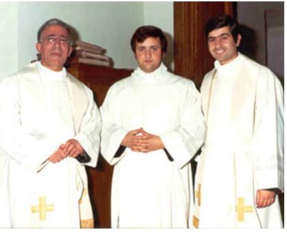 """Da sinistra Don Geremia, don Alberto Conti e don Cesario Ronzitti il 26 ottobre 1976, giorno dell'""""Ammissione"""" di don Alberto nella Cattedrale di Trivento."""