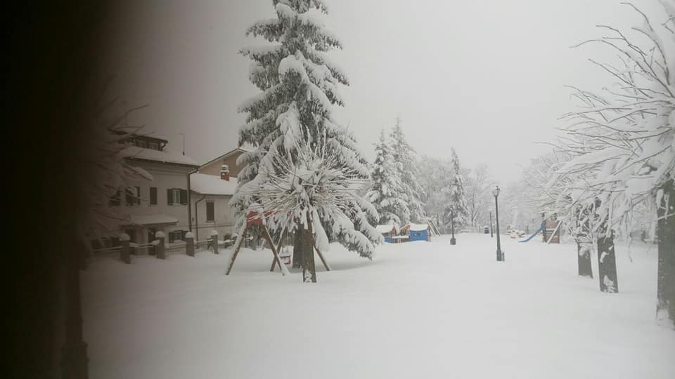 La neve in villa comunale