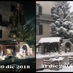 Il presepe di Piazza Falconi nel giro di 24 ore. Foto: Alessia Toscani
