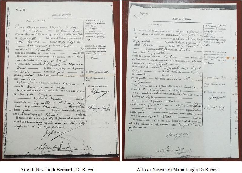 Atti di nascita di Bernardo Di Bucci e di María Luigia Di Rienzo