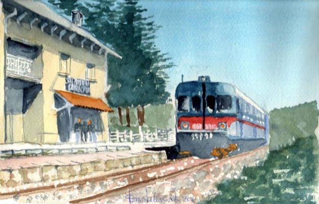 La stazione ferroviaria San Pietro Avellana - Capracotta. Donatella Capo, acquerello, anno 2016